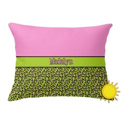 Pink & Lime Green Leopard Outdoor Throw Pillow (Rectangular) (Personalized)