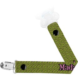 Pink & Lime Green Leopard Pacifier Clips (Personalized)