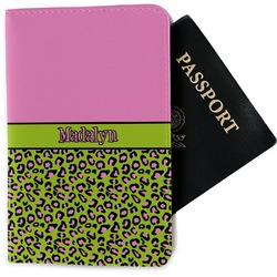 Pink & Lime Green Leopard Passport Holder - Fabric (Personalized)
