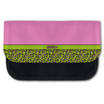 Pink & Lime Green Leopard Canvas Pencil Case w/ Name or Text