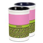 Pink & Lime Green Leopard Ceramic Pencil Holder - Large
