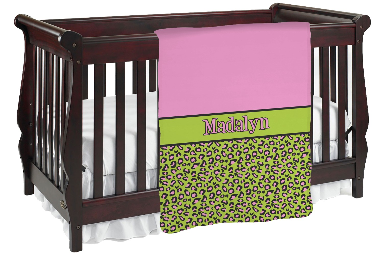 Pink Lime Green Leopard Baby Blanket Personalized