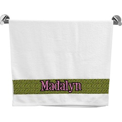 Pink & Lime Green Leopard Bath Towel (Personalized)