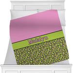 Pink & Lime Green Leopard Minky Blanket (Personalized)