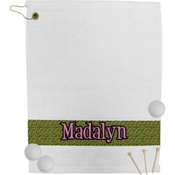 Pink & Lime Green Leopard Golf Towel (Personalized)