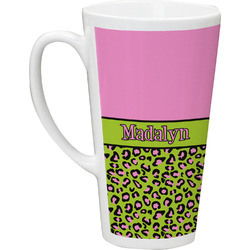 Pink & Lime Green Leopard Latte Mug (Personalized)