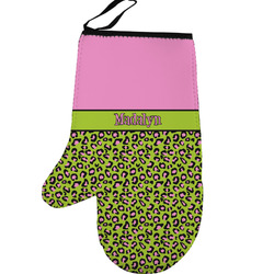 Pink & Lime Green Leopard Left Oven Mitt (Personalized)