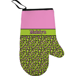 Pink & Lime Green Leopard Oven Mitt (Personalized)