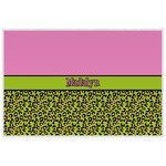 Pink & Lime Green Leopard Laminated Placemat w/ Name or Text