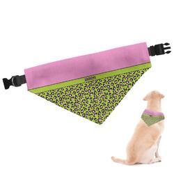 Pink & Lime Green Leopard Dog Bandana (Personalized)