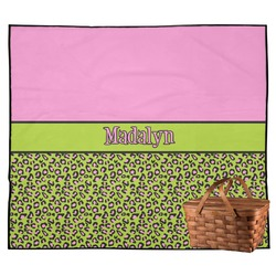 Pink & Lime Green Leopard Outdoor Picnic Blanket (Personalized)