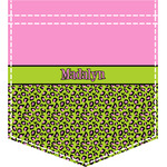Pink & Lime Green Leopard Iron On Faux Pocket (Personalized)