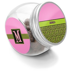 Pink & Lime Green Leopard Puppy Treat Jar (Personalized)