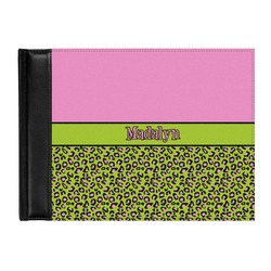 Pink & Lime Green Leopard Genuine Leather Guest Book (Personalized)