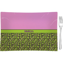 Pink & Lime Green Leopard Glass Rectangular Appetizer / Dessert Plate - Single or Set (Personalized)