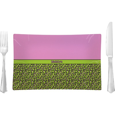 Pink & Lime Green Leopard Rectangular Glass Lunch / Dinner Plate - Single or Set (Personalized)