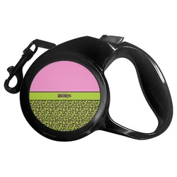 Pink & Lime Green Leopard Retractable Dog Leash - Multiple Sizes (Personalized)