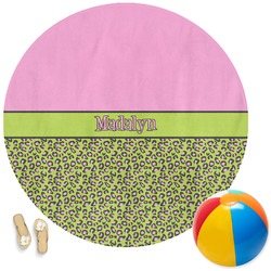 Pink & Lime Green Leopard Round Beach Towel (Personalized)