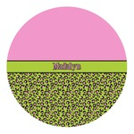 Pink & Lime Green Leopard Round Decal (Personalized)