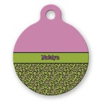 Pink & Lime Green Leopard Round Pet Tag (Personalized)