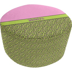 Pink & Lime Green Leopard Round Pouf Ottoman (Personalized)