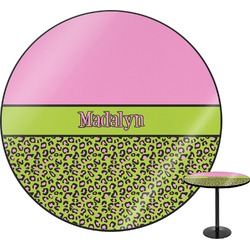 Pink & Lime Green Leopard Round Table (Personalized)