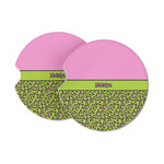 Pink & Lime Green Leopard Sandstone Car Coasters (Personalized)