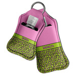 Pink & Lime Green Leopard Hand Sanitizer & Keychain Holder (Personalized)