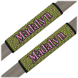 Pink & Lime Green Leopard Seat Belt Covers (Set of 2) (Personalized)