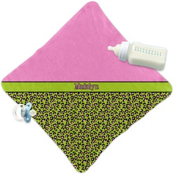 Pink & Lime Green Leopard Security Blanket (Personalized)