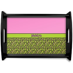 Pink & Lime Green Leopard Black Wooden Tray (Personalized)