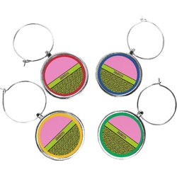 Pink & Lime Green Leopard Wine Charms (Set of 4) (Personalized)
