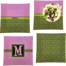 """Pink & Lime Green Leopard Set of 4 Glass Square Lunch / Dinner Plate 9.5"""" (Personalized)"""