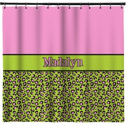 Pink & Lime Green Leopard Shower Curtain (Personalized)