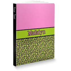 """Pink & Lime Green Leopard Softbound Notebook - 7.25"""" x 10"""" (Personalized)"""