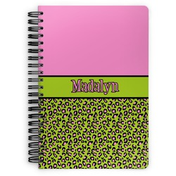 Pink & Lime Green Leopard Spiral Notebook (Personalized)