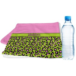 Pink & Lime Green Leopard Sports Towel (Personalized)