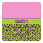 Pink & Lime Green Leopard Square Decal (Personalized)