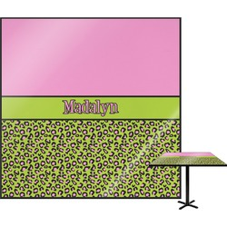 "Pink & Lime Green Leopard Square Table Top - 30"" (Personalized)"