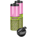 Pink & Lime Green Leopard Stainless Steel Skinny Tumbler (Personalized)