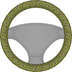 Pink & Lime Green Leopard Steering Wheel Cover (Personalized)