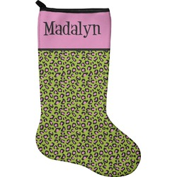 Pink & Lime Green Leopard Christmas Stocking - Neoprene (Personalized)