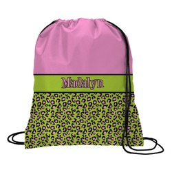 Pink & Lime Green Leopard Drawstring Backpack (Personalized)