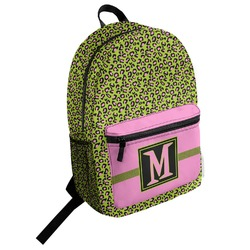 Pink & Lime Green Leopard Student Backpack (Personalized)