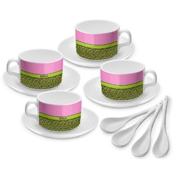 Pink & Lime Green Leopard Tea Cup - Set of 4 (Personalized)