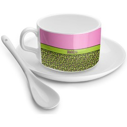 Pink & Lime Green Leopard Tea Cup - Single (Personalized)