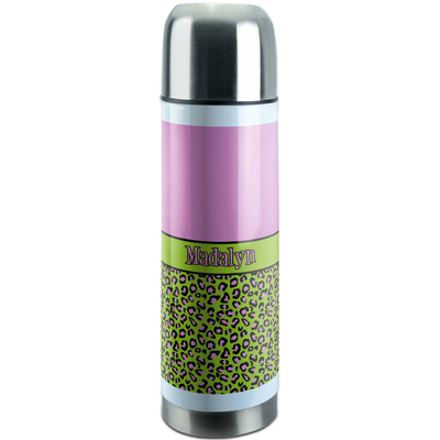 Pink & Lime Green Leopard Stainless Steel Thermos (Personalized)