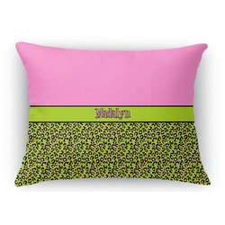 Pink & Lime Green Leopard Rectangular Throw Pillow (Personalized)