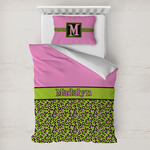 Pink & Lime Green Leopard Toddler Bedding w/ Name or Text