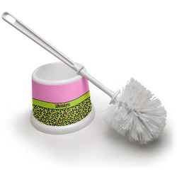 Pink & Lime Green Leopard Toilet Brush (Personalized)